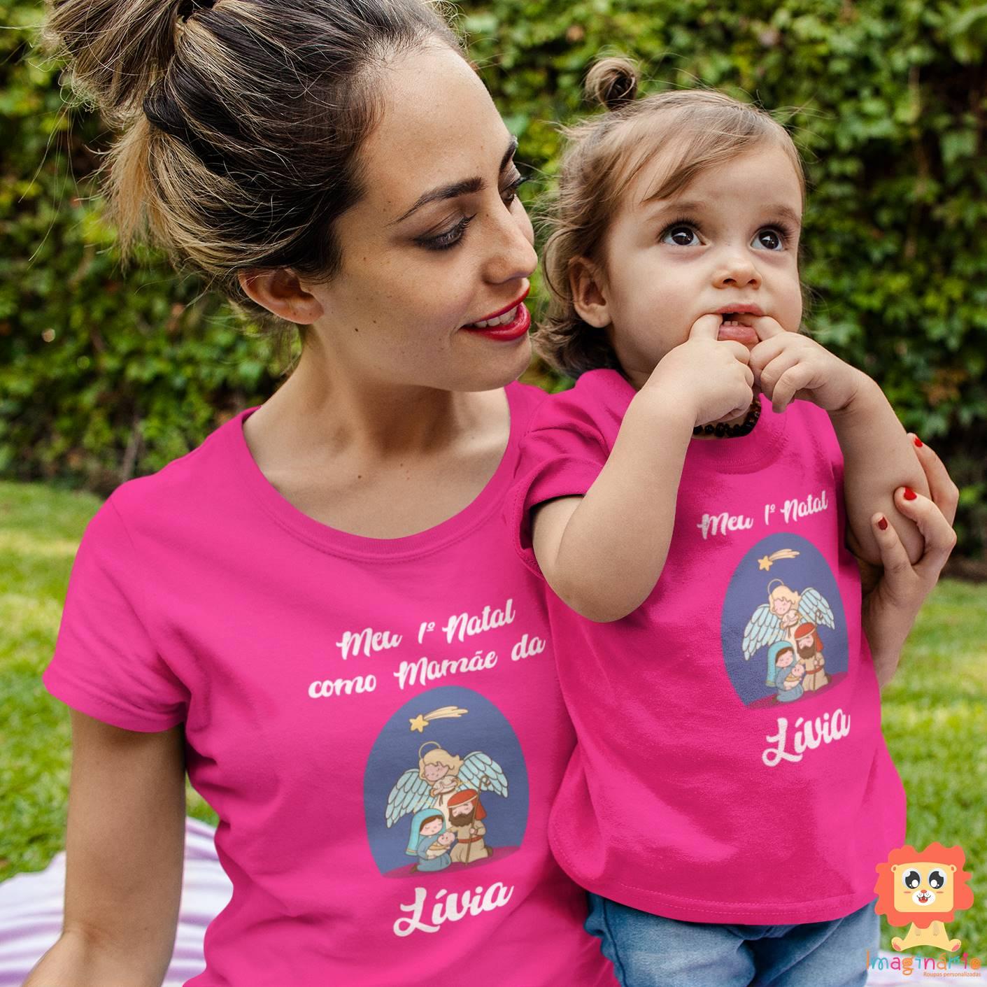 Kit Camisetas Mãe e Filho Presépio de Natal