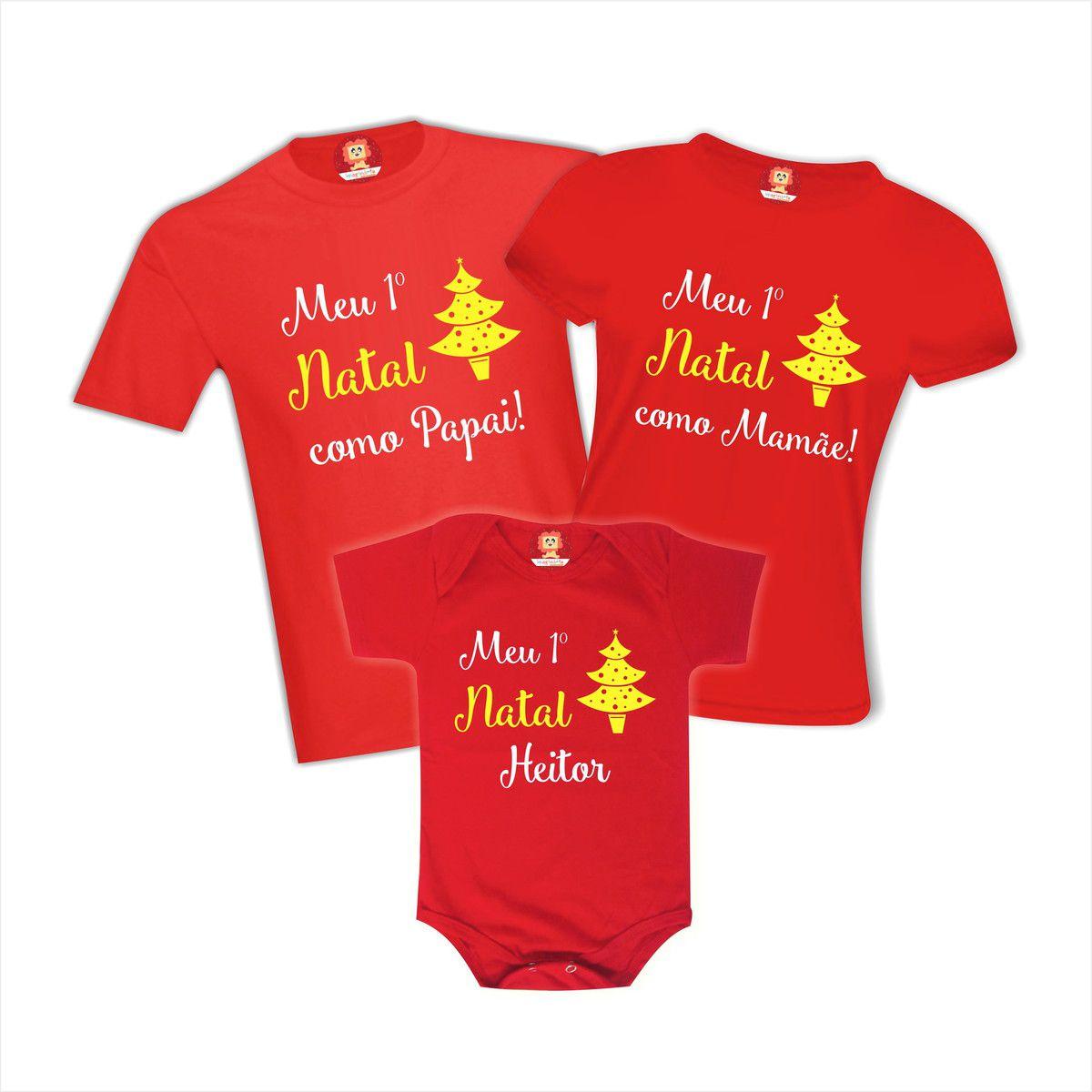 Kit Body de Bebê e Camisetas Meu Primeiro Natal Como Papai Mamãe Nome Personalizado