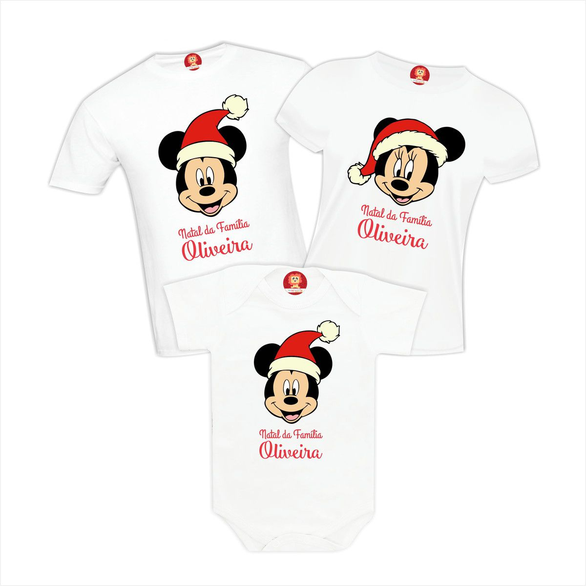Kit Camisetas Natal em Família - Mickey Disney