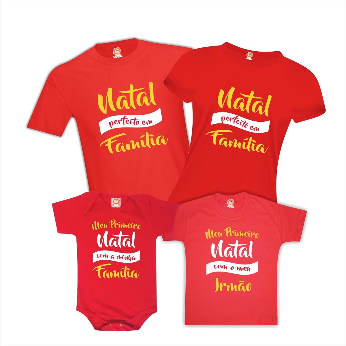Kit Camisetas Natal Perfeito em Familia
