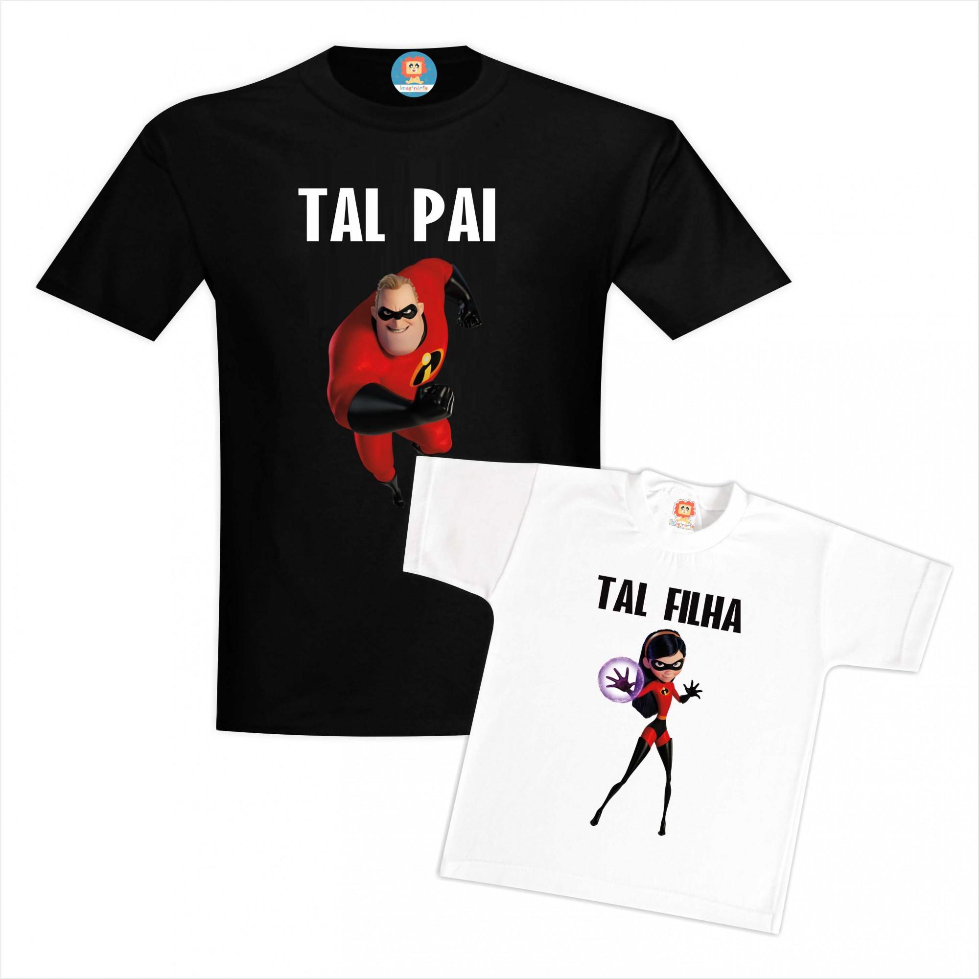 Kit Camisetas Os Incríveis Tal Pai e Tal Filha Sr Incrível e Violeta Dia dos Pais