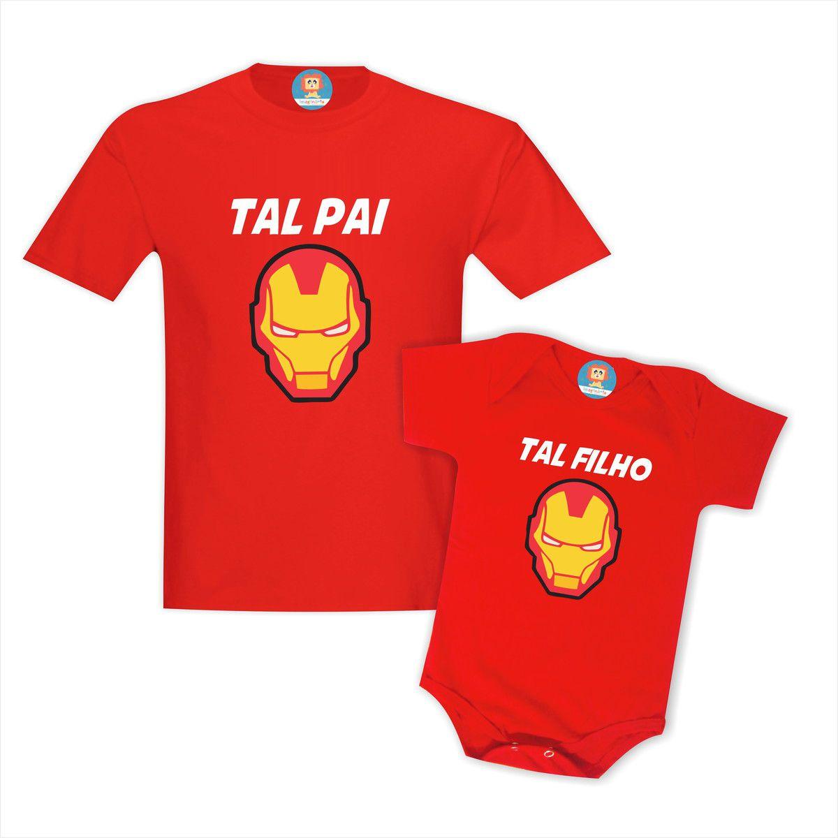 Kit Camisetas Pai e Filho Homem de Ferro Iron Man