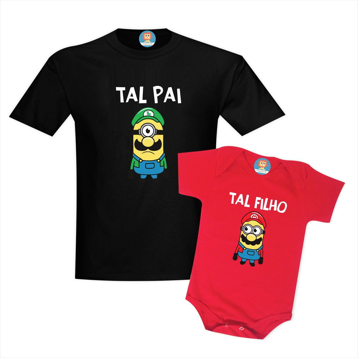 Kit Camisetas  Pai e Filho Minions Super Mário