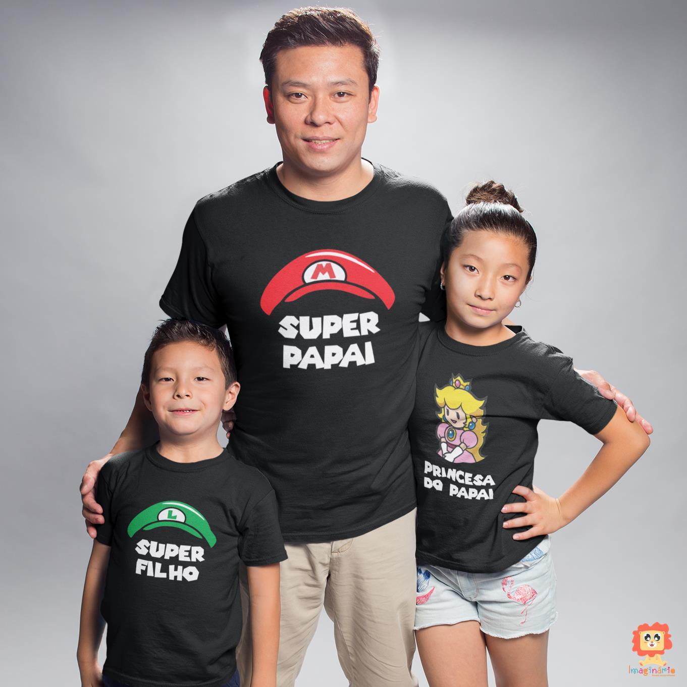 Kit Camisetas Pai e Filhos Super Mario Luigi e Princesa Peach - Gêmeos ou Irmãos