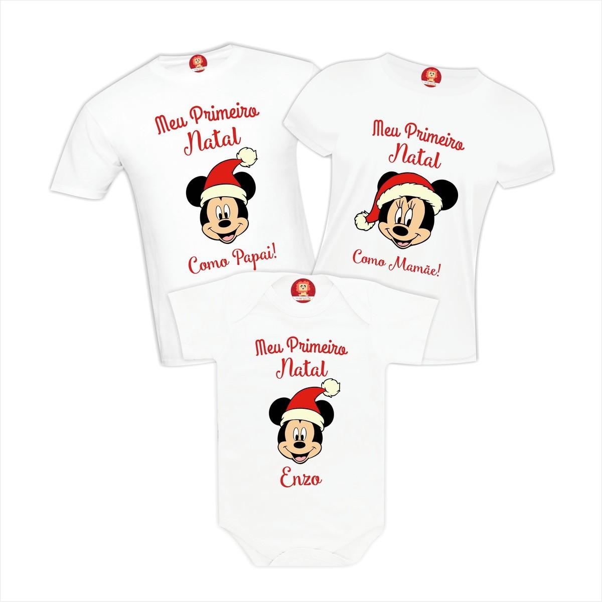 Kit Camisetas Primeiro Natal Disney Mickey e Minnie