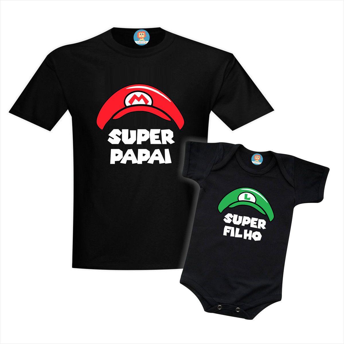 Kit Camisetas Super Pai e Filho Super Mario e Luigi
