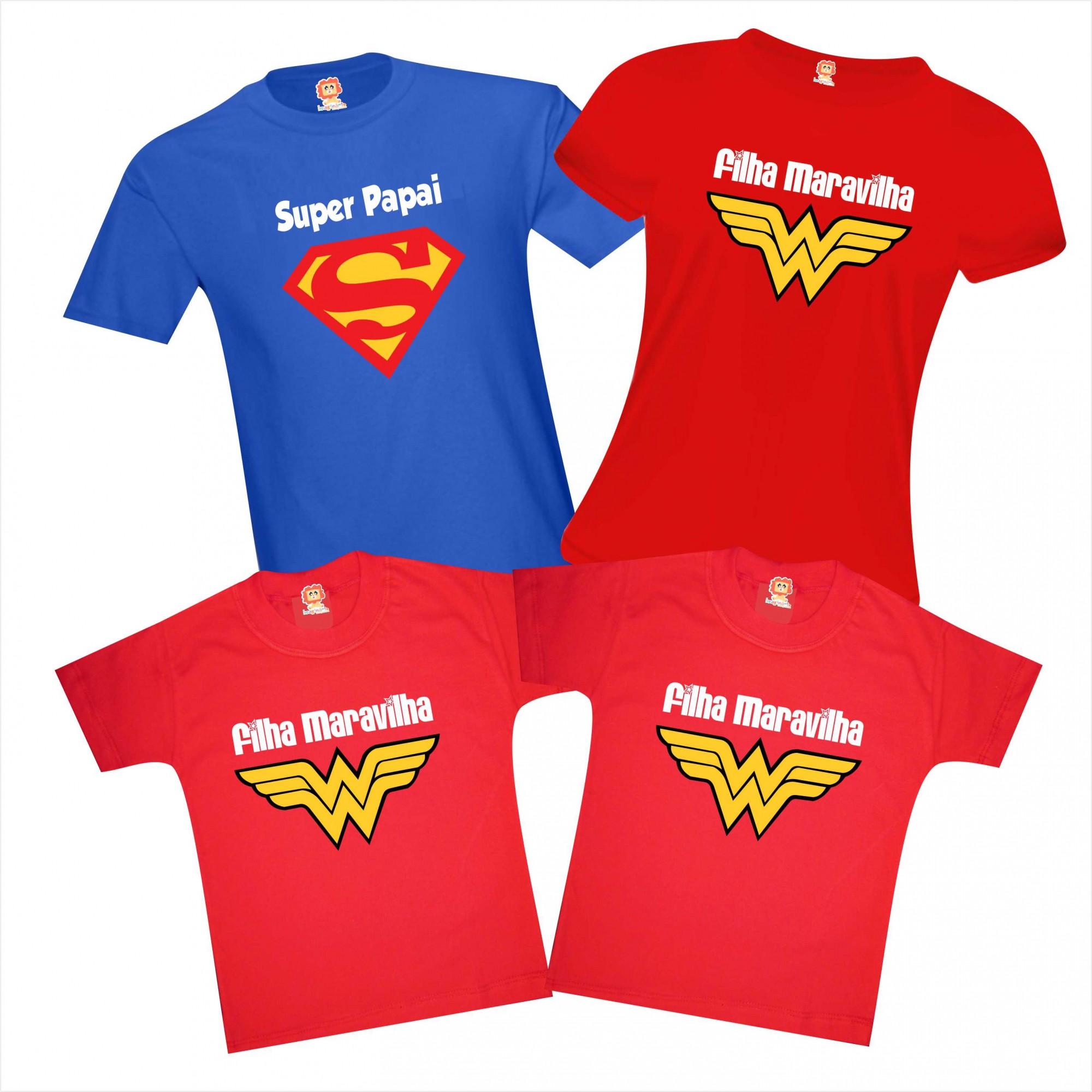 Kit Camisetas Super Papai e 3 Filhas Maravilhas Dia dos Pais