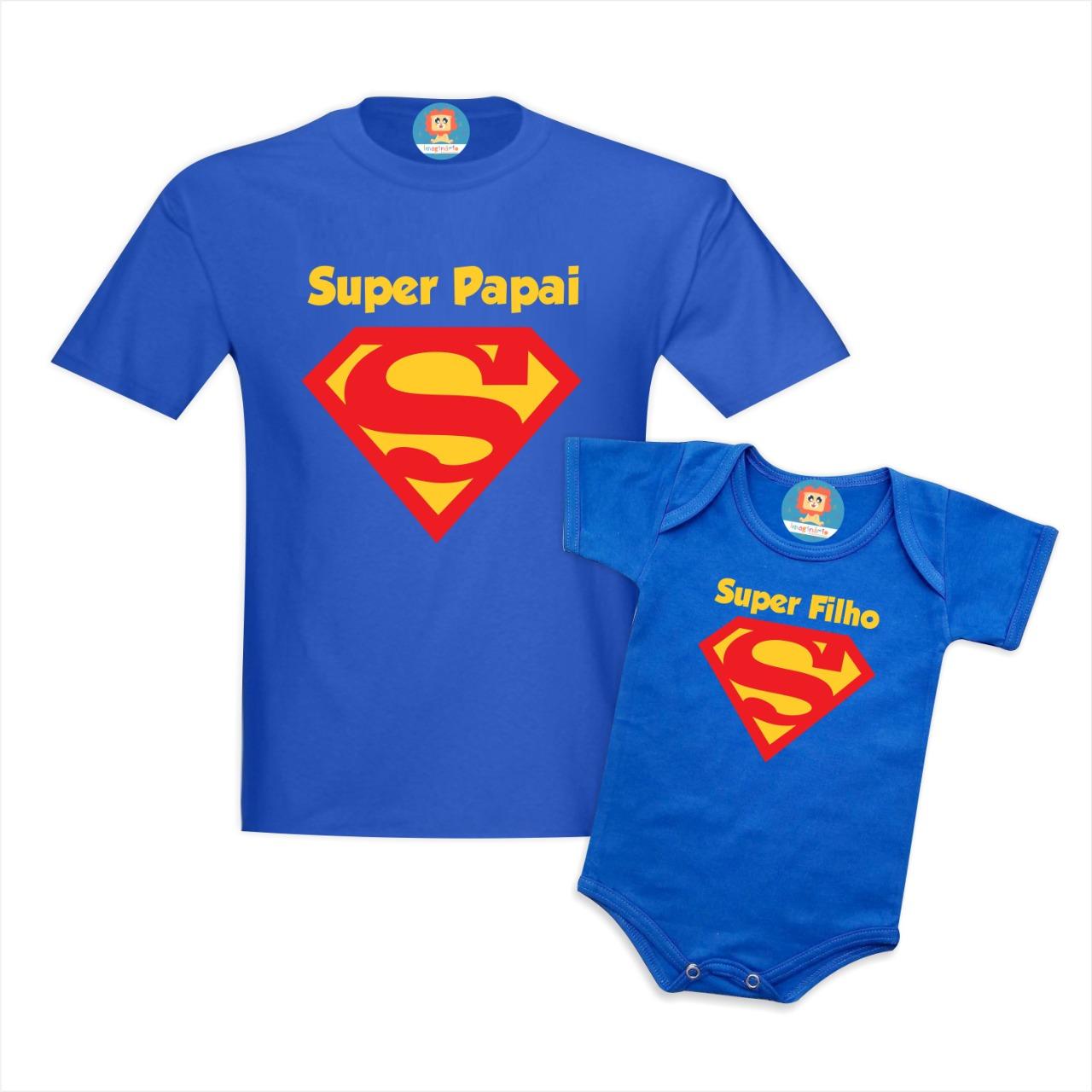 Kit Camisetas Super Papai e Super Filho(a)