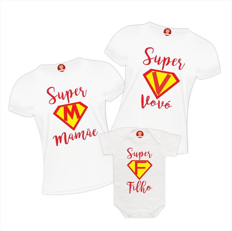 Kit Camisetas Super Vovó - Super Mamãe e Super Filho(a)