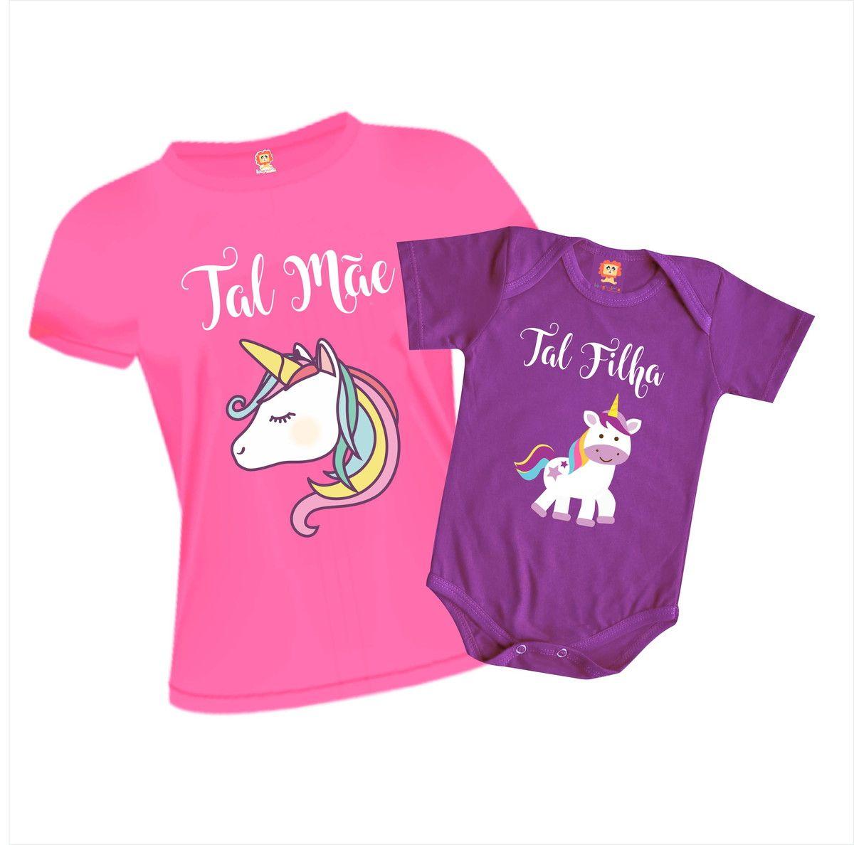Kit Camisetas Tal Mãe e Tal Filha Unicórnio