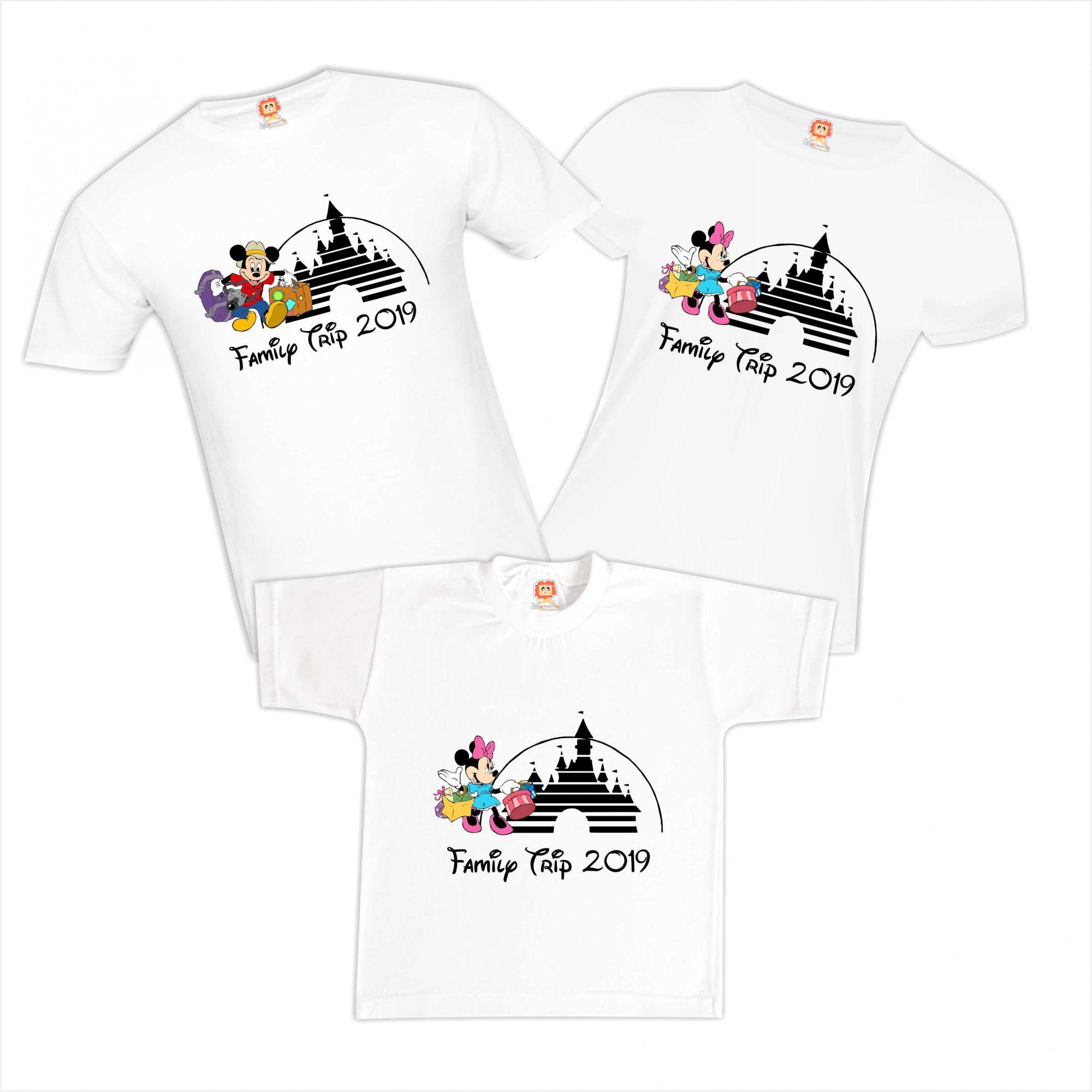 Kit Camisetas Viagem Disney Mickey e Minnie Family Trip Orlando Personalizadas