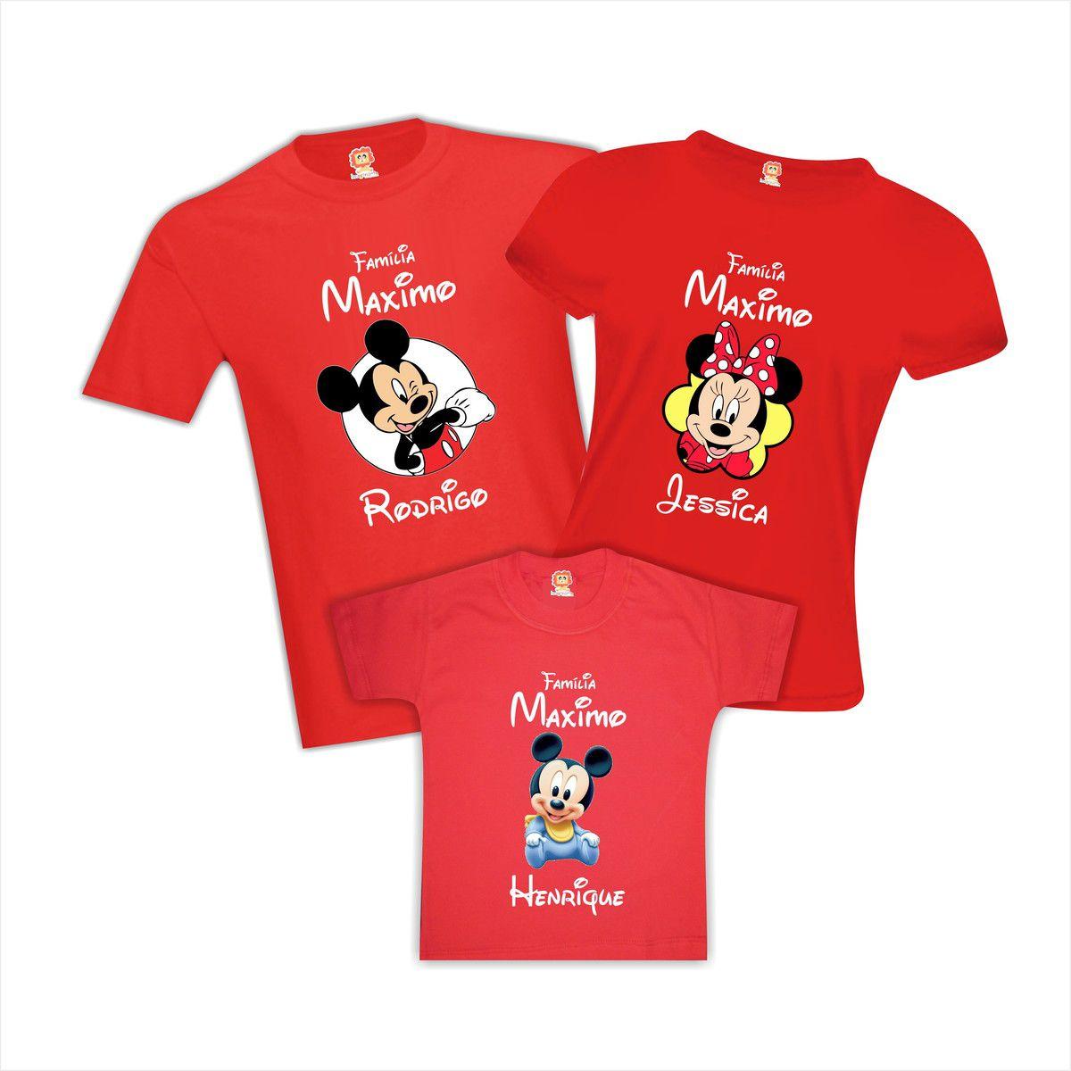 Kit Camisetas Viagem Disney Mickey Minnie Mickey Baby Personalizadas Orlando