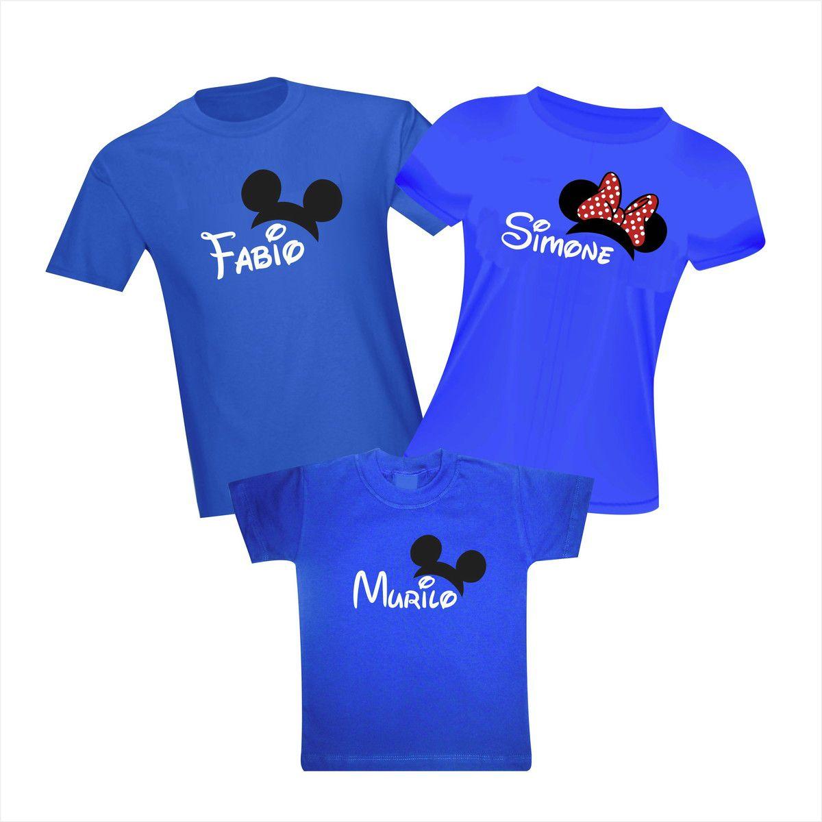 Kit Camisetas Viagem Disney Orelhinhas com Nome