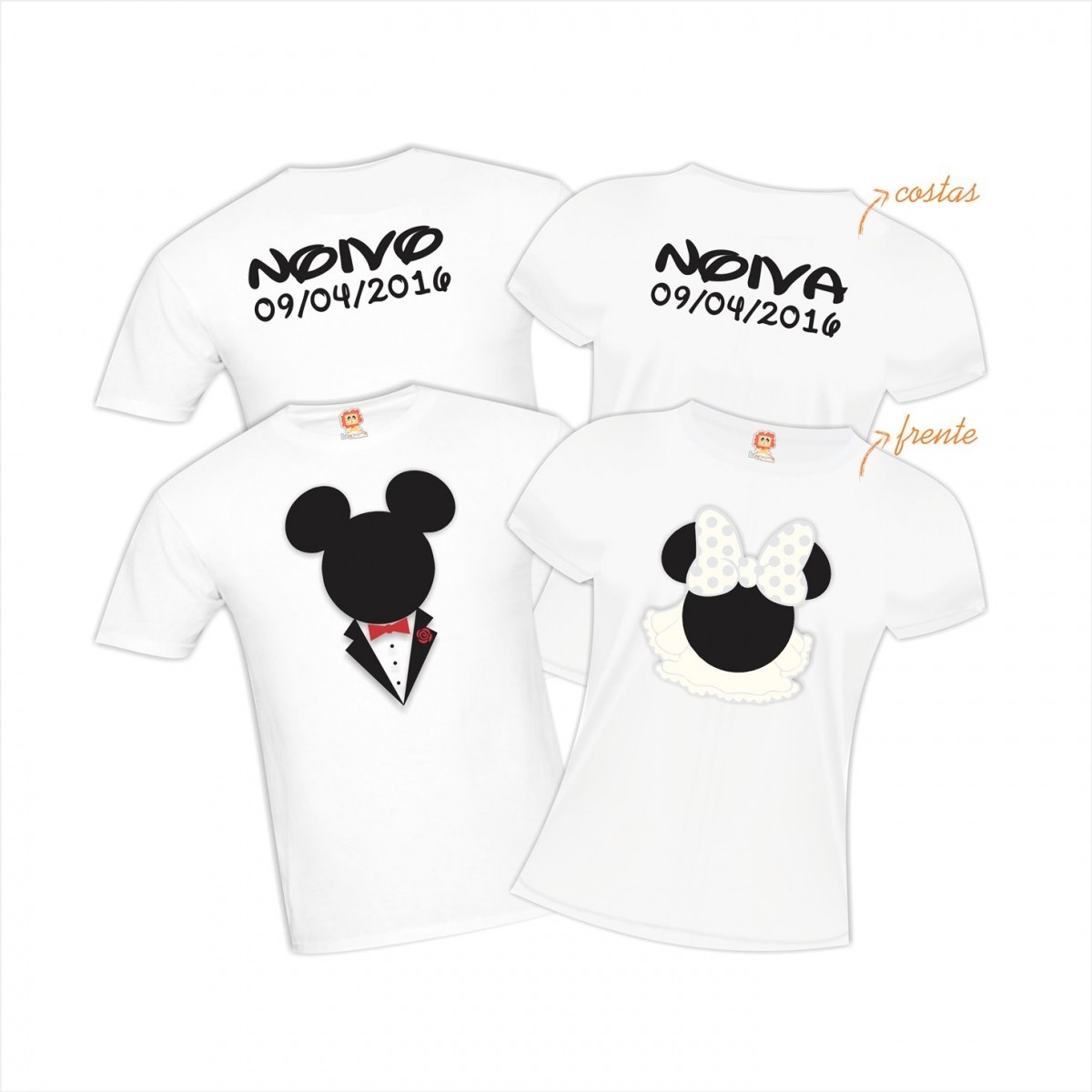 Kit Camisetas Casal Mickey e Minnie Noivos