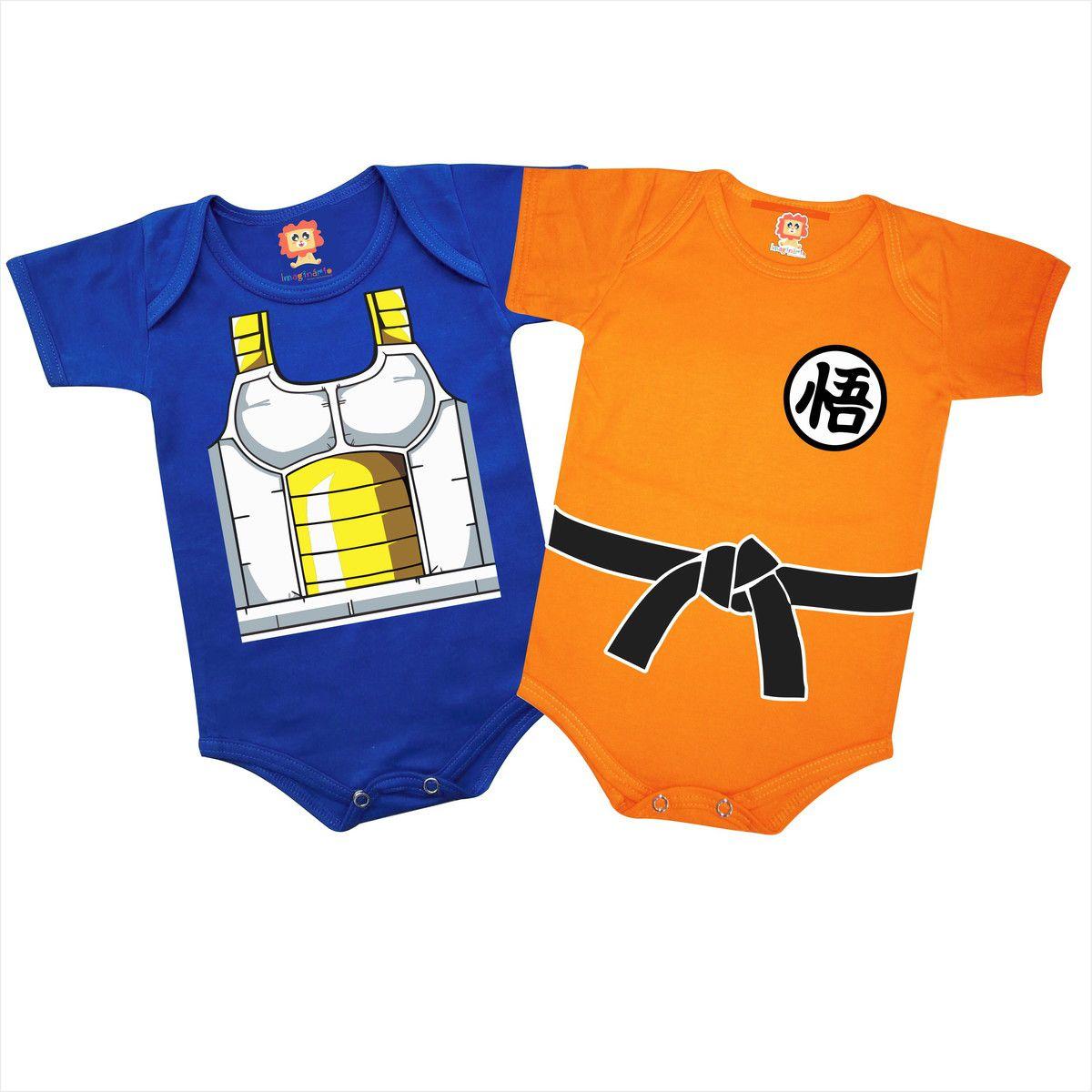 Kit Com 2 Bodys De Bebê Dragon Ball Goku Vegeta Baby Geek Fantasia
