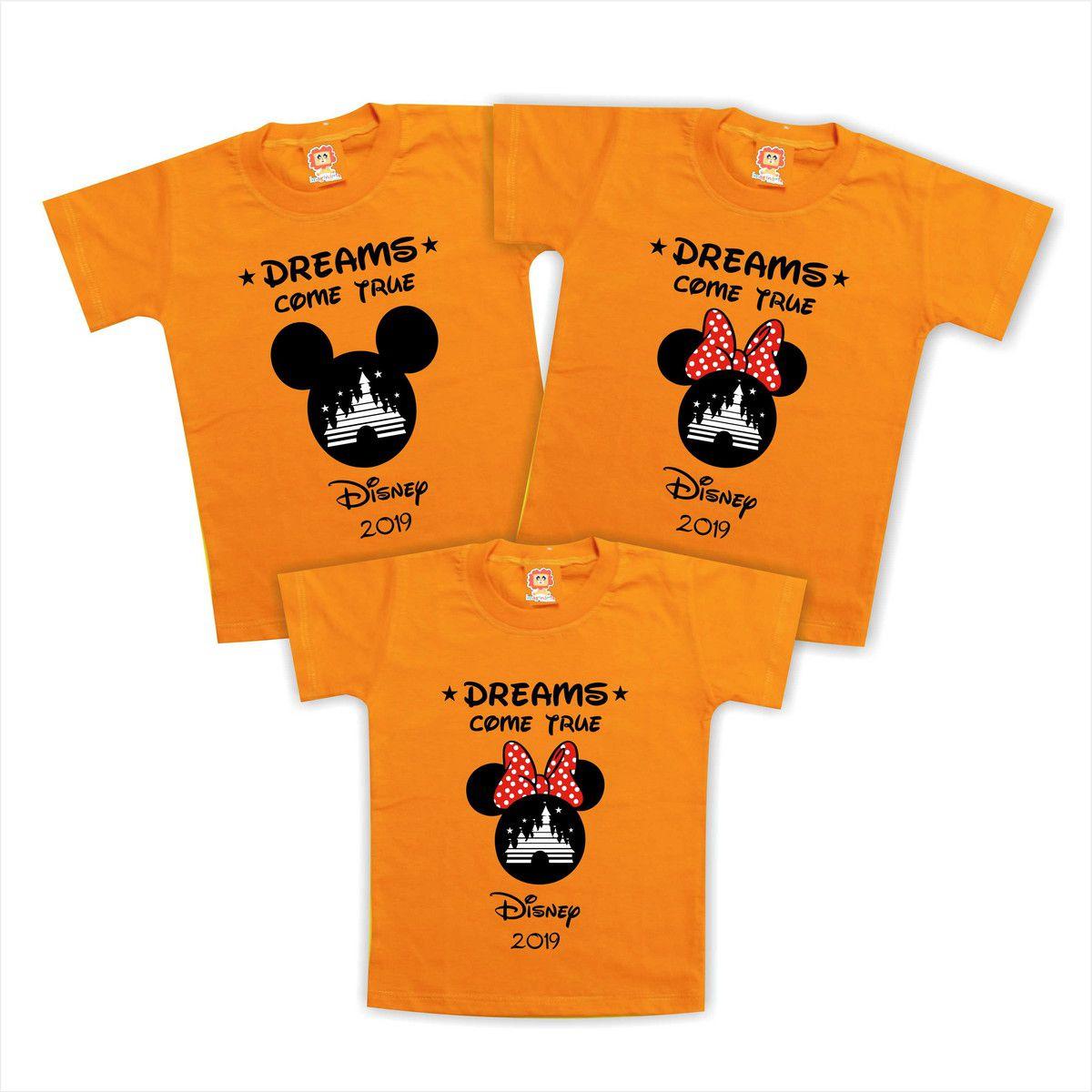 Kit Com 3 Camisetas Viagem Disney Personalizadas Mickey Minnie Orlando Castelo