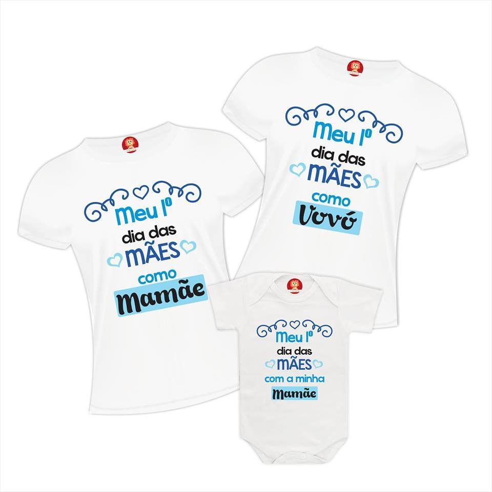 Kit com 3 Peças Vovó Mamãe e Filho Primeiro Dia das Mães