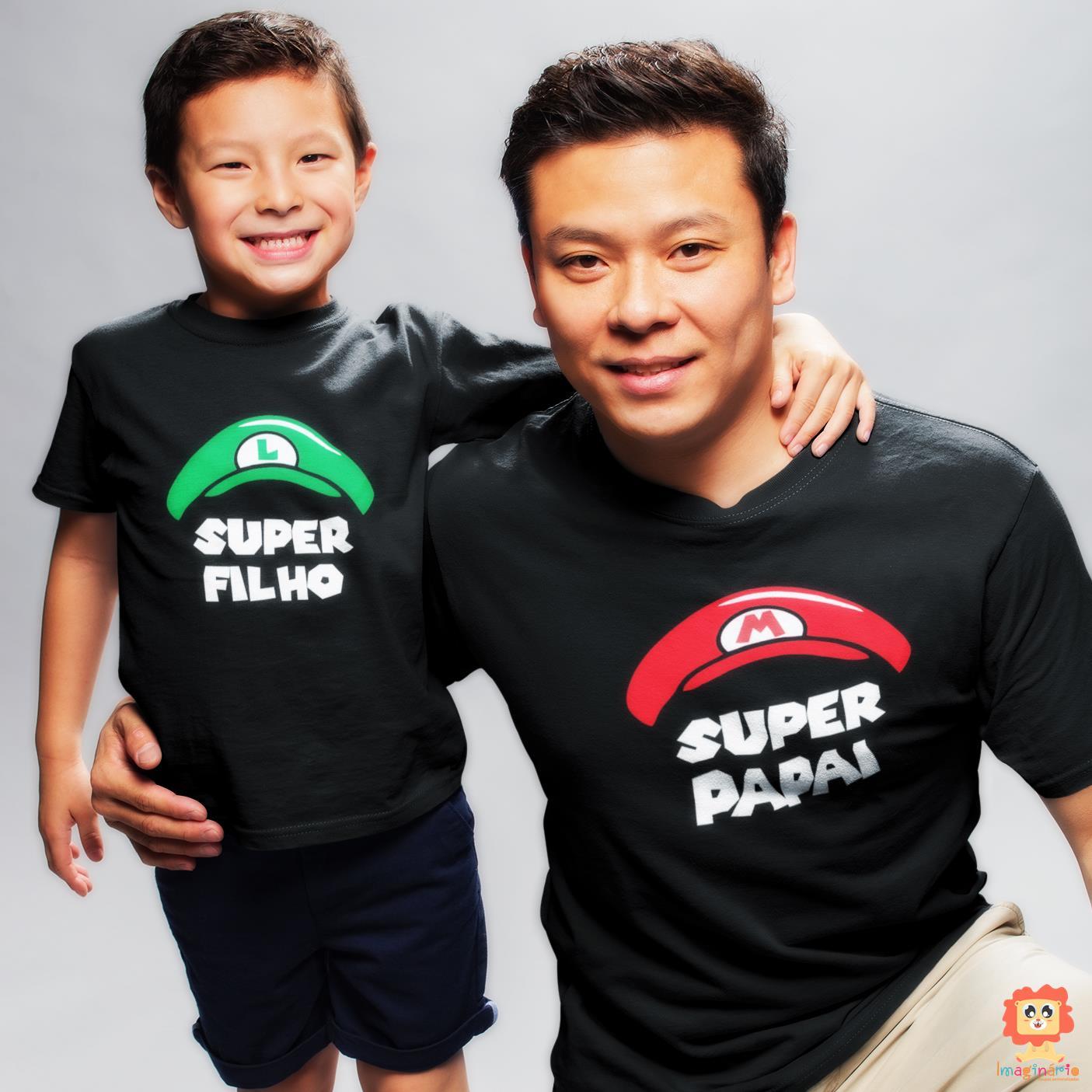 Kit Dia dos Pais Chapéu Super Mario Personalizado com as Iniciais do Nome