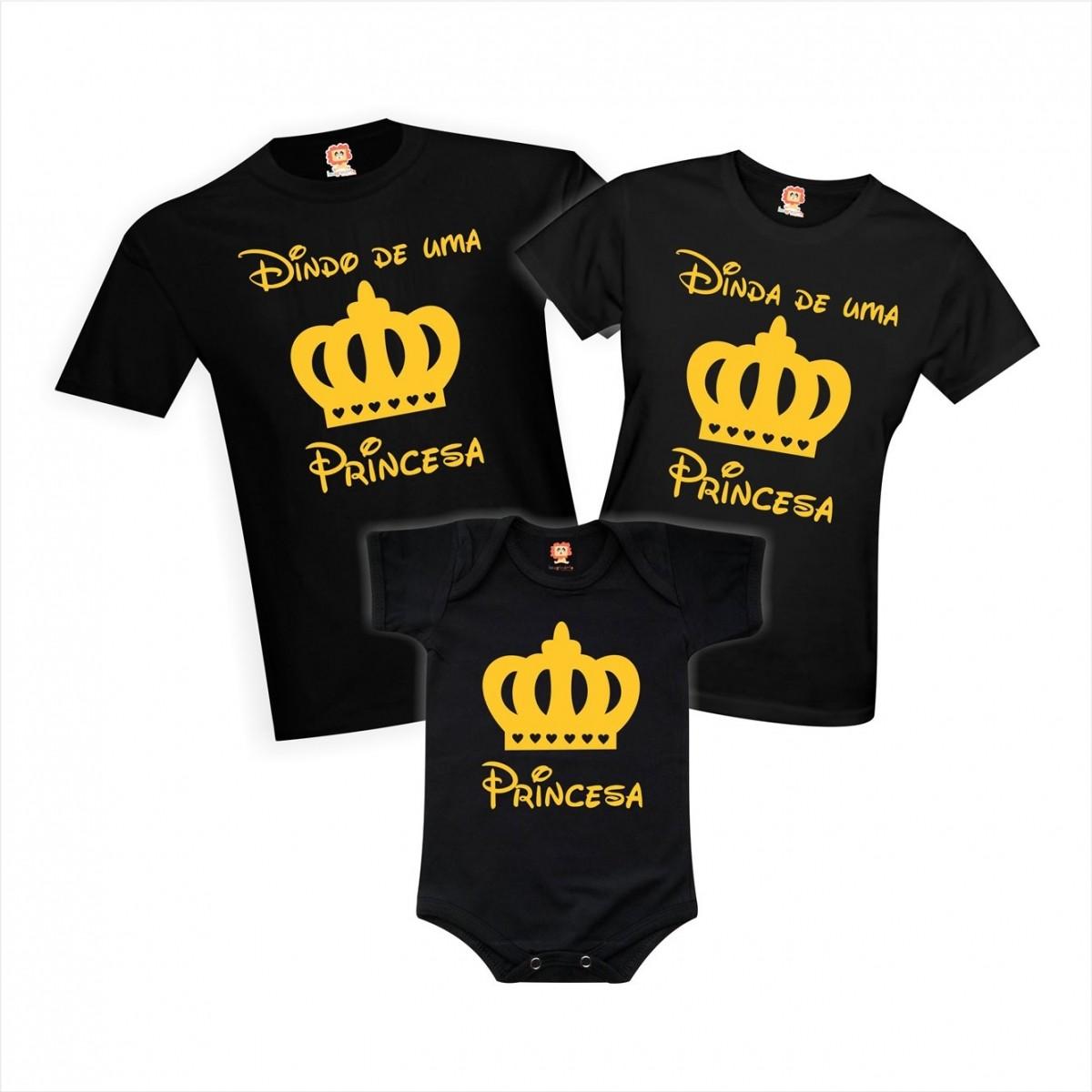 Kit Camisetas Dindos de Príncipe ou Princesa