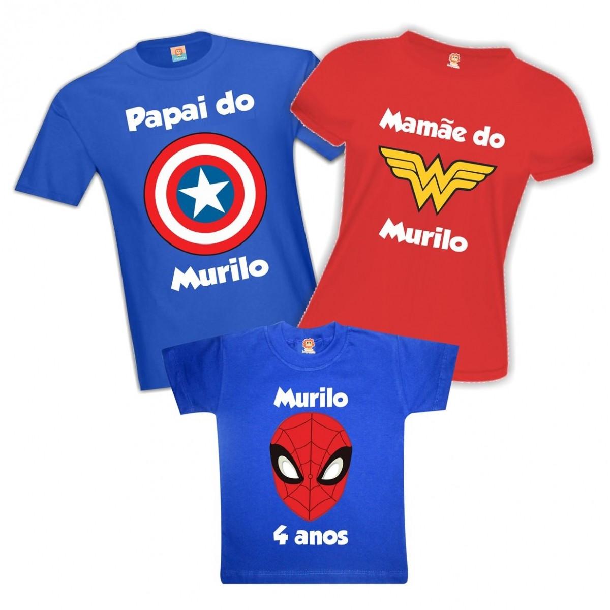 Kit Festa Heróis Capitão, Maravilha, Aranha