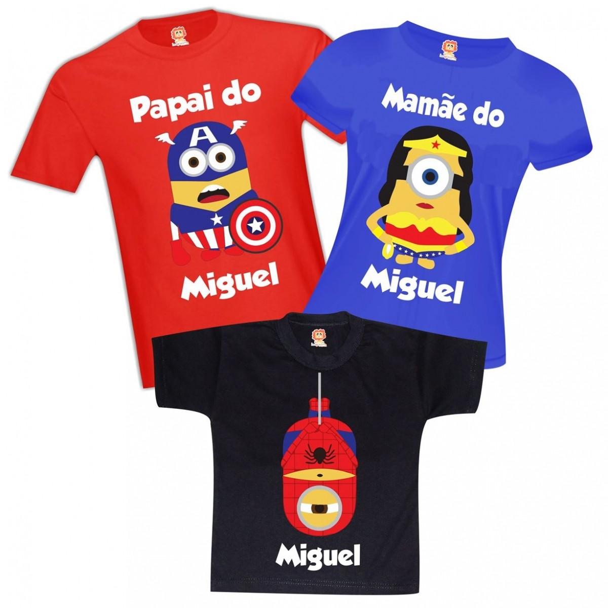 Camisetas de Aniversário Minions Heróis