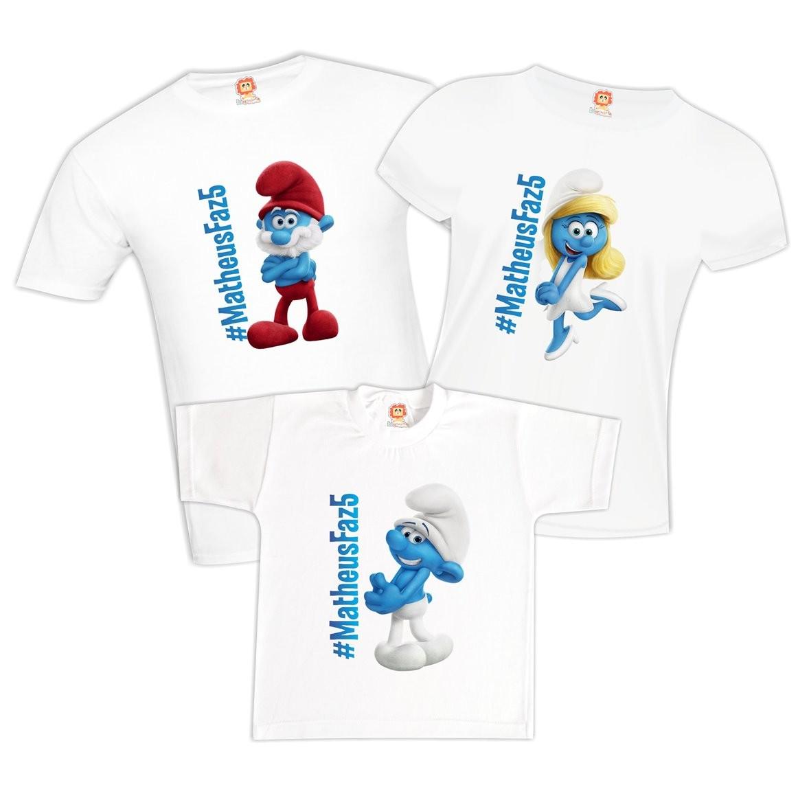 Camisetas de Aniversário Smurfs