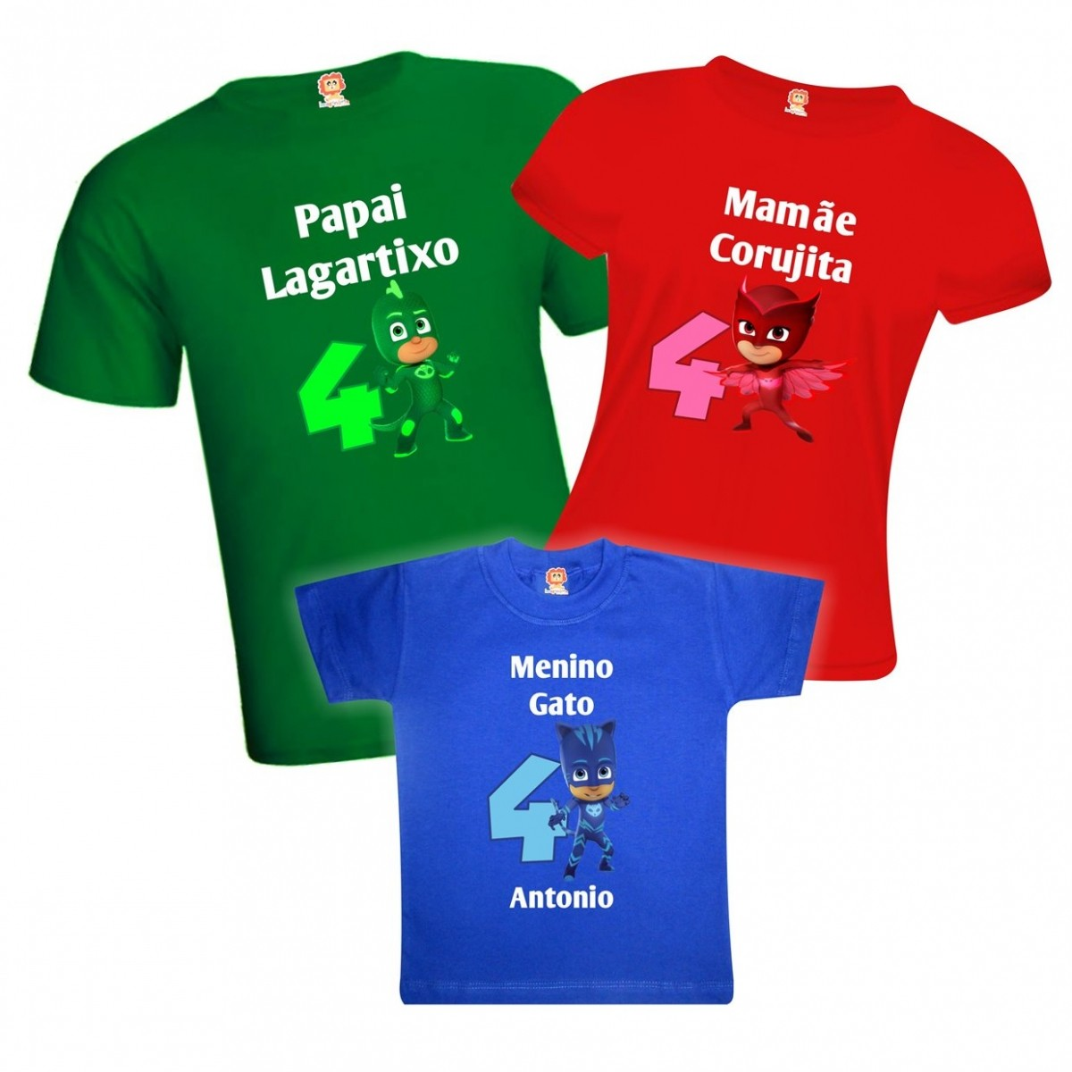 Camisetas de Aniversário PJ Masks - 100% Algodão 9d6694c6758