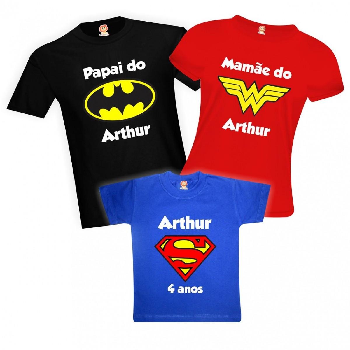 Camisetas de Aniversário Batman Mãe Maravilha Super Filho