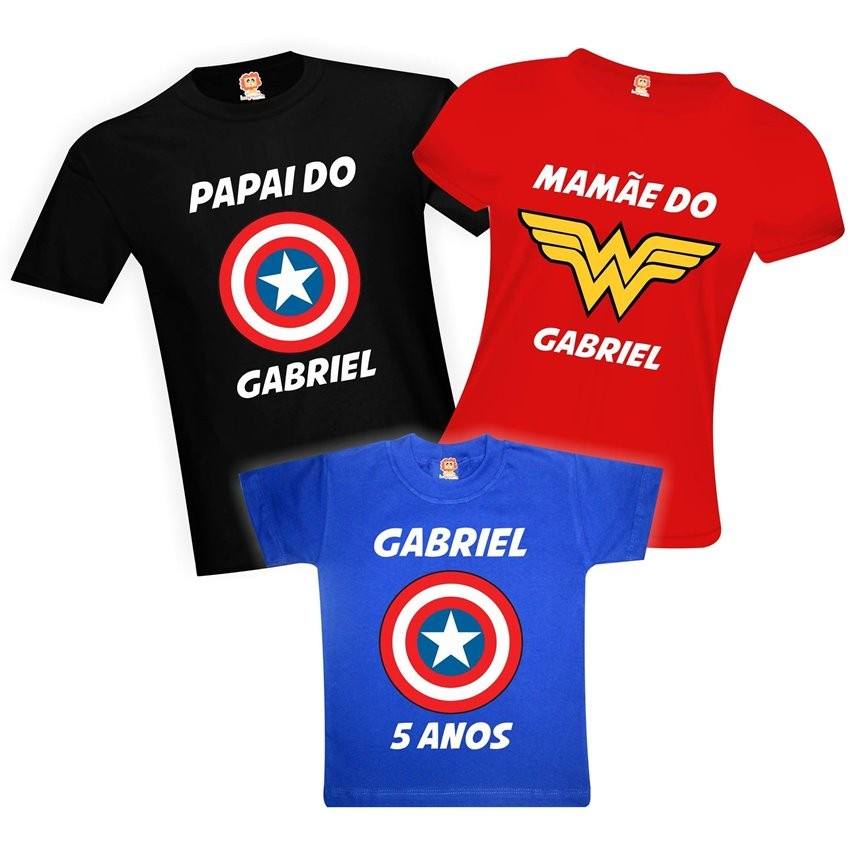 Camisetas de Aniversário Heróis Capitão América Mãe Maravilha