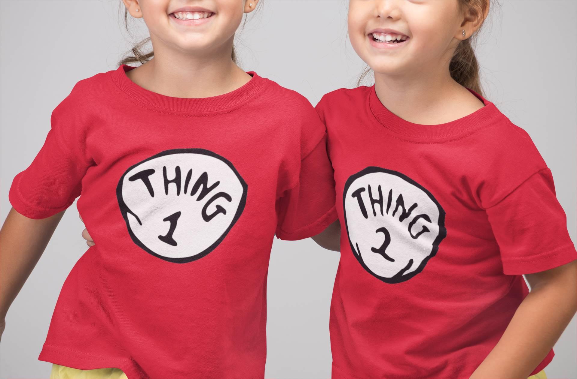 Kit Camisetas Thing 1 e Thing 2 Gatola da Cartola Coisa 1 e Coisa 2