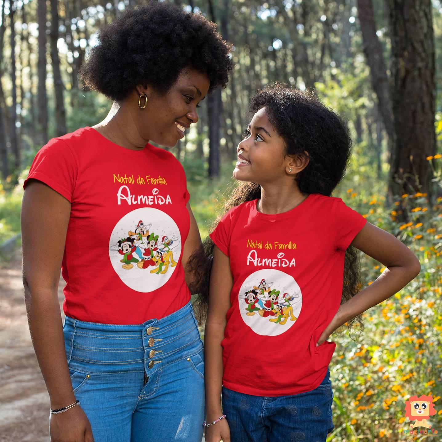 Kit Mãe e Filho(a) Natal Mickey Personalizado