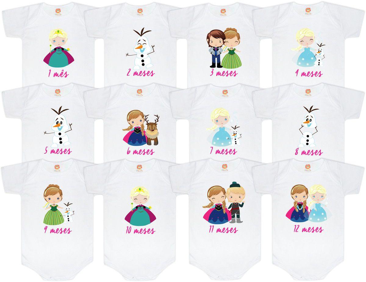 Kit Mesversário Frozen Princesas Anna, Elsa e Olaf