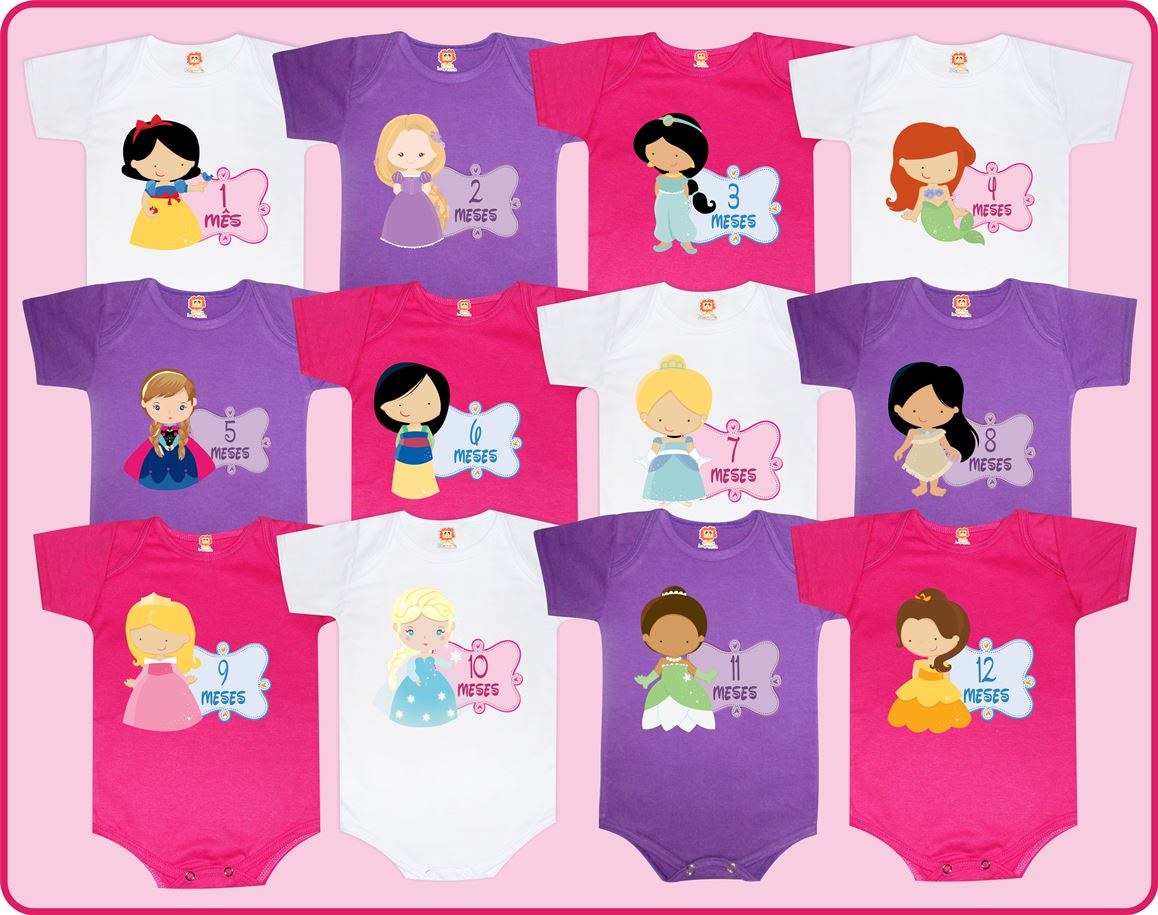 Kit 12 Bodys Mesversário Princesas Disney