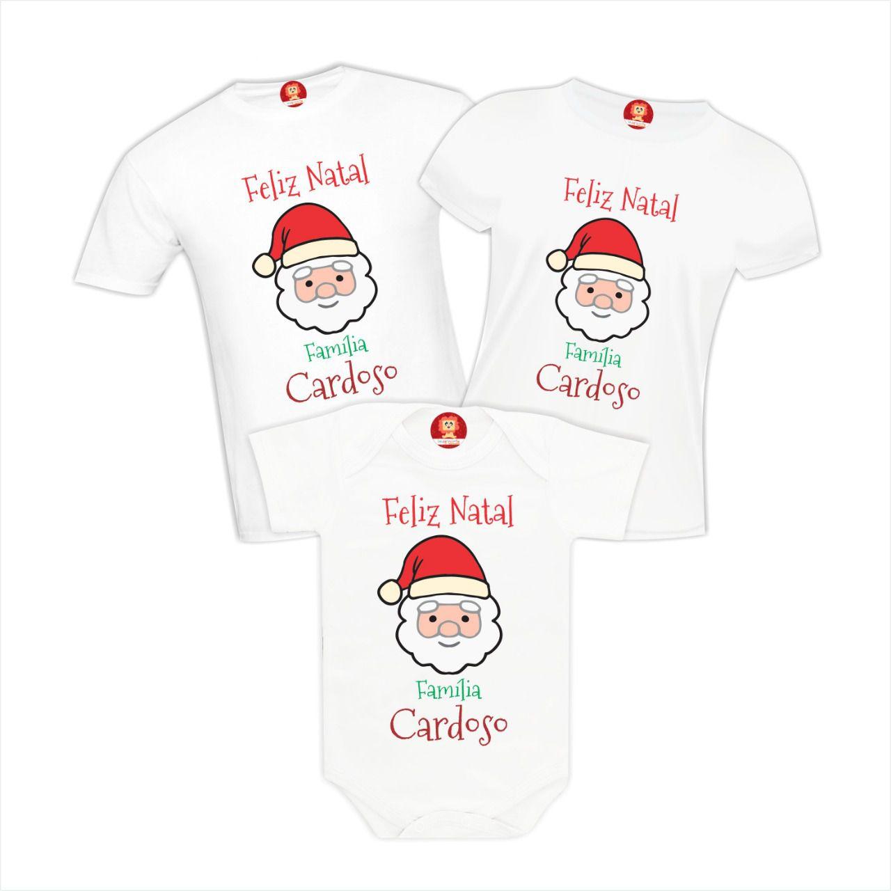 Kit Natal em Família Personalizado com Sobrenome
