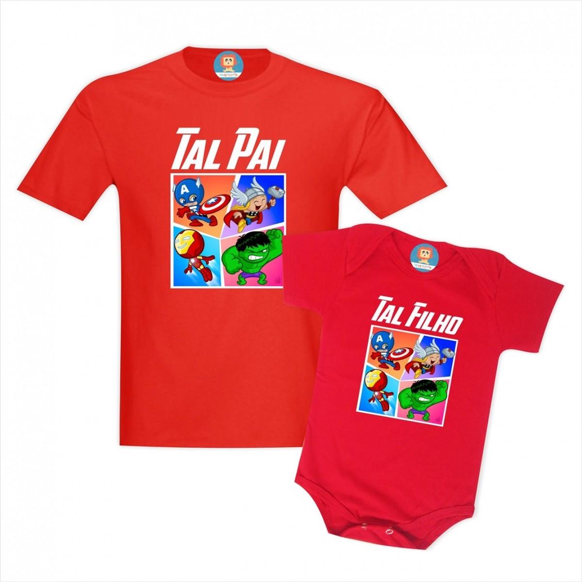 Camisetas Tal Pai Tal Filho(a) Vingadores