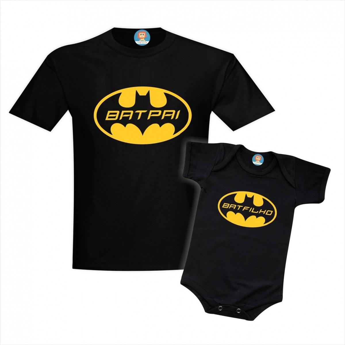 Kit Camiseta e Roupinha de Bebê BatPai e BatFilho Batman Dia dos Pais