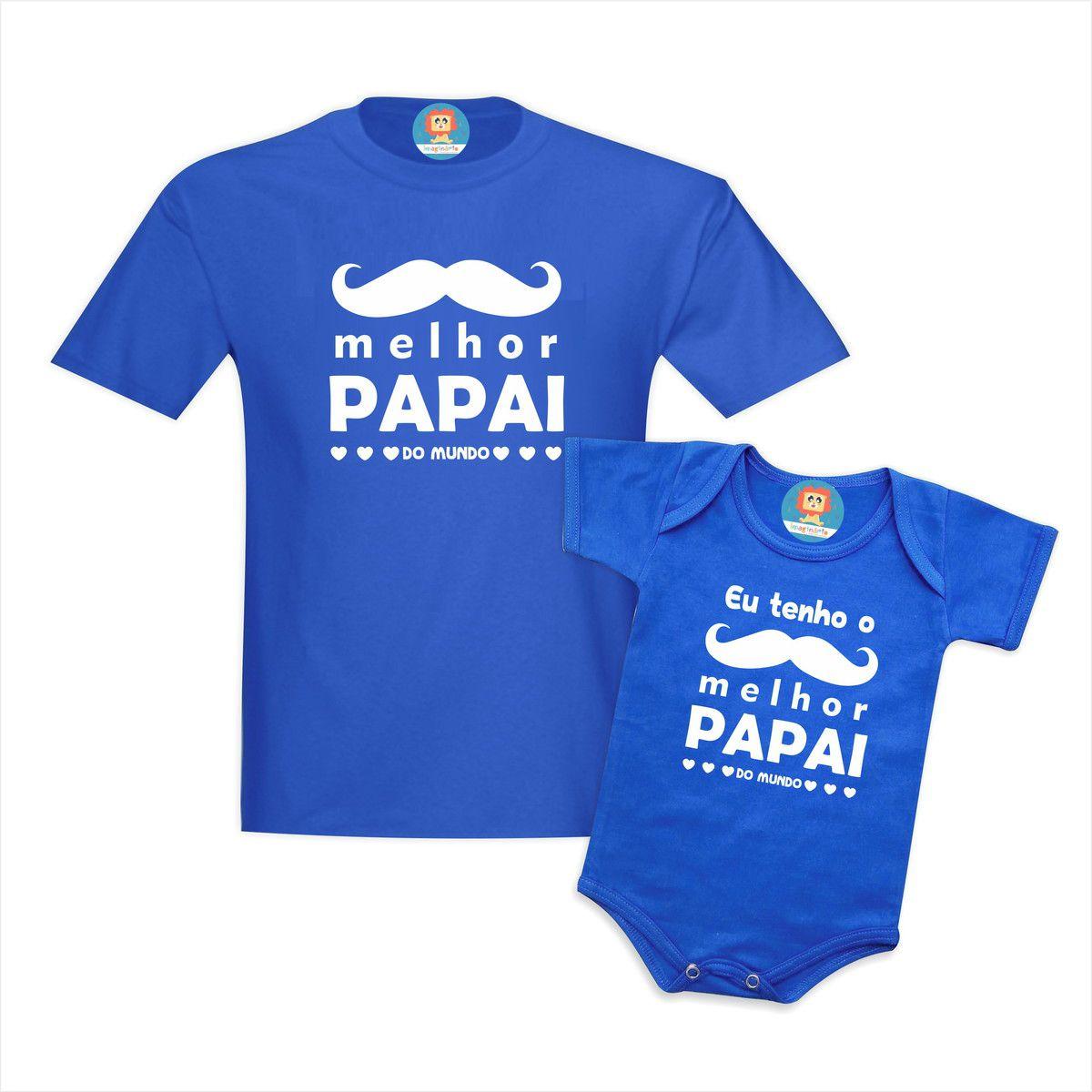 Kit Pai e Filho Melhor Papai do Mundo Azul Dia dos Pais