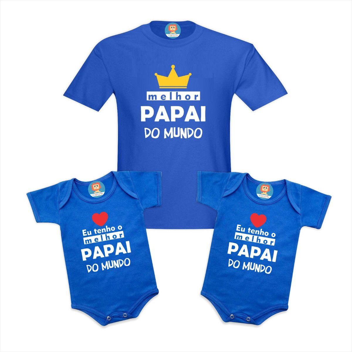 Kit Pai e Filhos Melhor Papai do Mundo Coroa e Corações