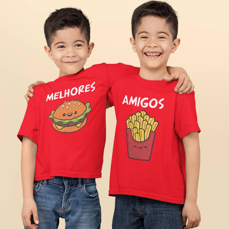 Camisetas ou Body Melhores Amigos Hambúrguer e Batata Frita Kit Irmãos