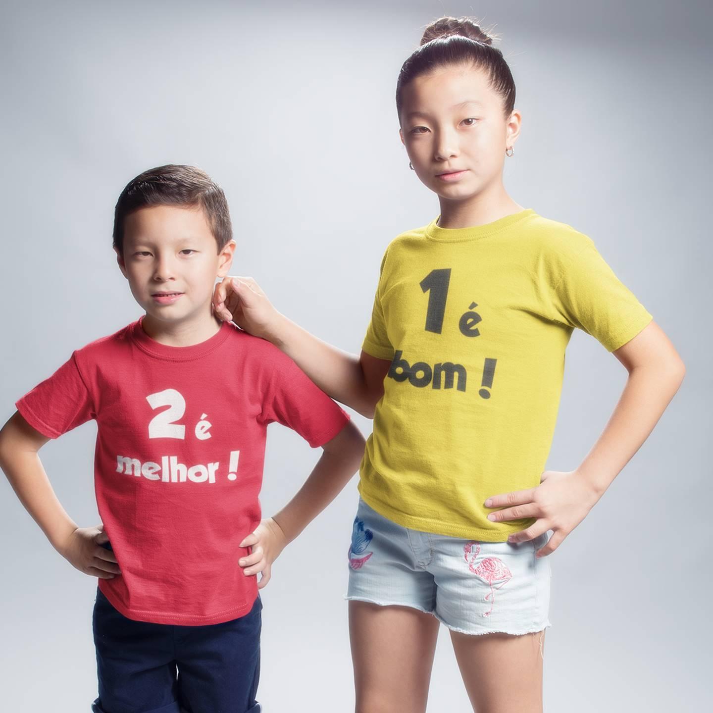 Camisetas ou Roupinhas de Bebê 1 é Bom 2 é Melhor - Kit Irmãos Gêmeos