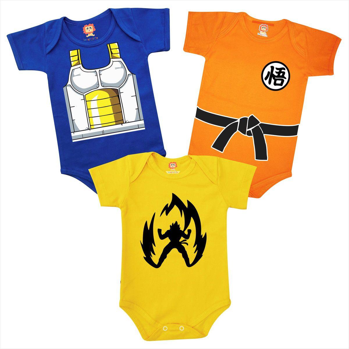 Kit Roupinhas de Bebê Dragon Ball Goku Vegeta Infantil Geek