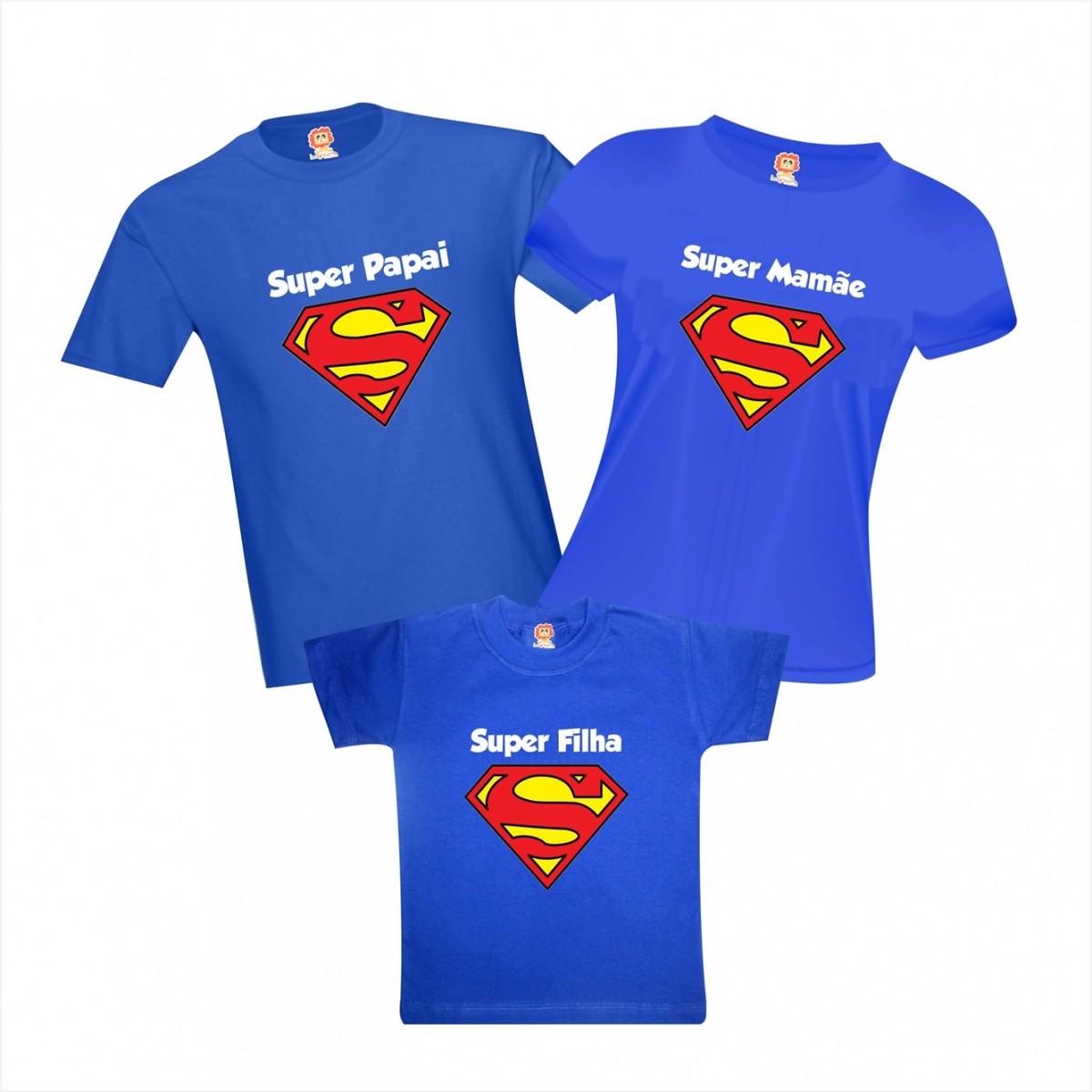 Camisetas Super Papai, Mamãe e Filho(a) - Família Heróis