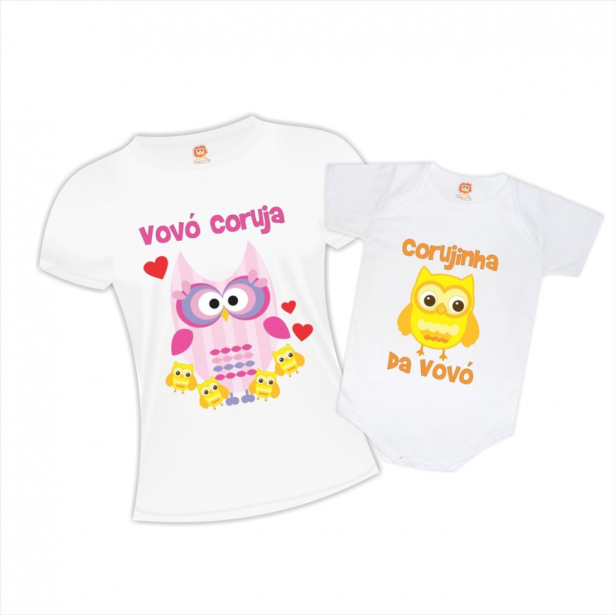 Kit Camiseta e Body Vovó Coruja