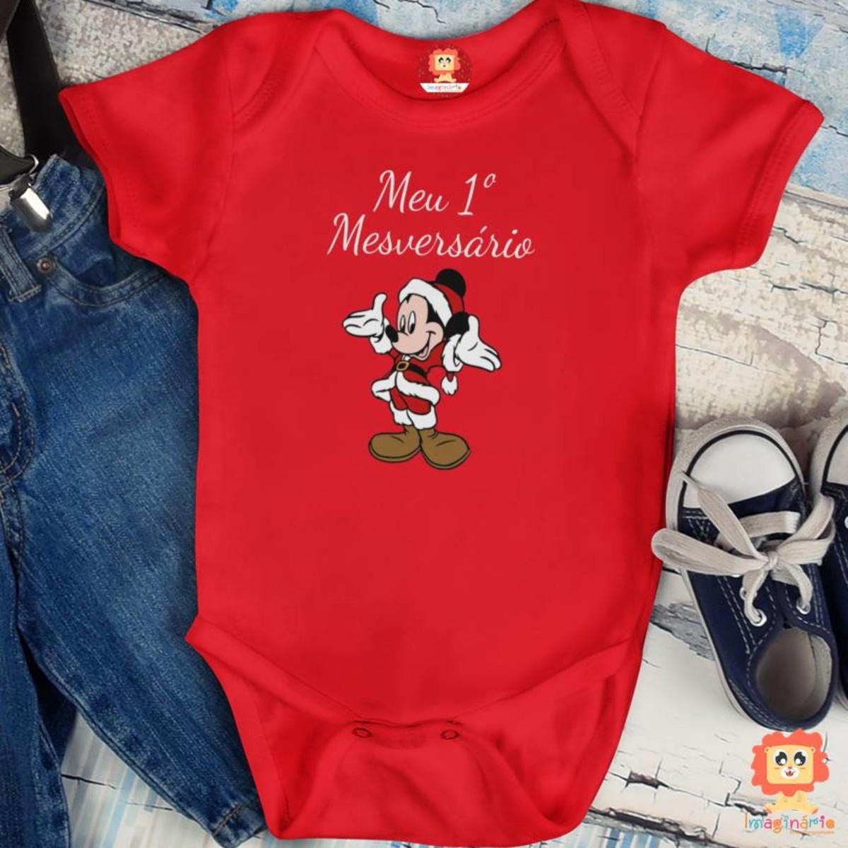 Roupinha de Bebê Mesversário Mickey Natalino Disney