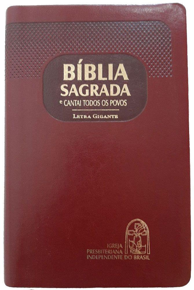 Bíblia com CTP - RA, Letra GIGANTE, Vinho, Capa emborrachada