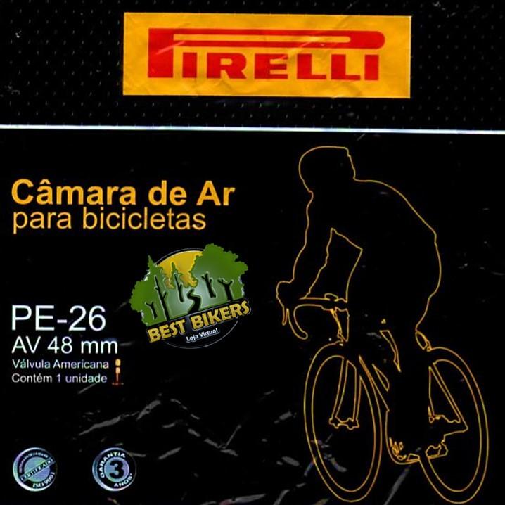 abffaccdb Câmara Ar Bicicleta Aro 26 Válvula Schrader Grossa Pirelli - Best Bikers