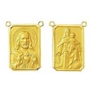 2 Medalhas Para Escapulario 2 Cm Ouro 18k Dupla 2 Santos 4.3gr