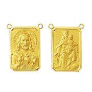 2 Medalhas Pingente Medio Escapulario Classico 1.6 Cm Ouro 18k Dupla Face K270
