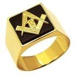 Anel Maçom Quadrado com Pedra Preta Onix Ouro 18k G Triangulo Maçonaria Mestre Aprendiz FDAF-33 ONIX K7