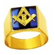 Anel Maçom Quadrado com Pedra Azul Safira Ouro 18k
